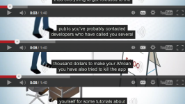 Excerpts from four videos showing terrible auto-generated closed captions. The closed captions read as follows: You have an amazing app idea and I've tried everything to get release to the public you've probably contacted developers who have called you several thousand dollars to make your African you have also tried to kill the app yourself for some tutorials about