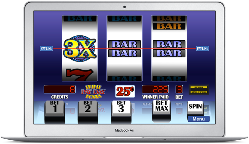Arcadia Slots on MacBook Air showing Triple Payday Bonus slot game