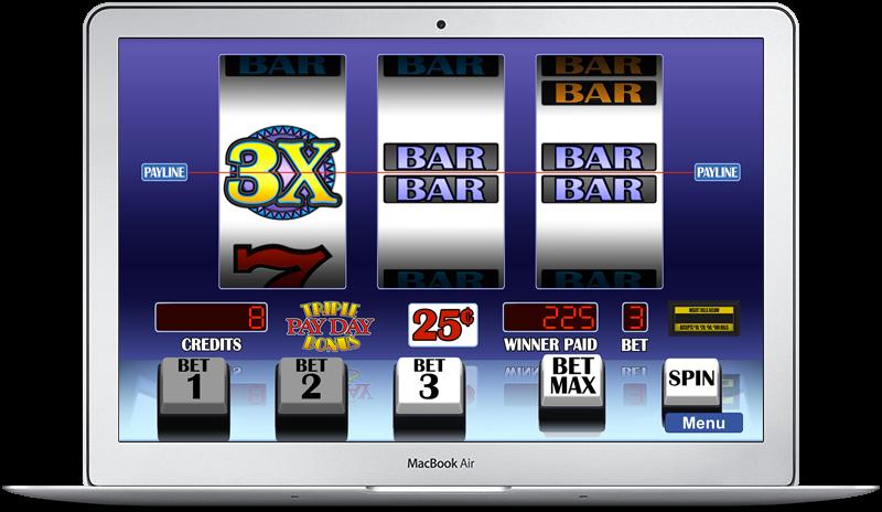 Arcadia Slots on MacBook Air showing Triple Payday Bonus slot game