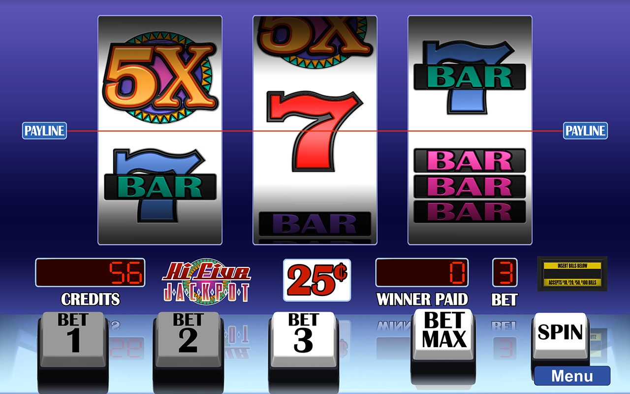 Arcadia Slots screenshot of Hi Five Jackpot slot game.