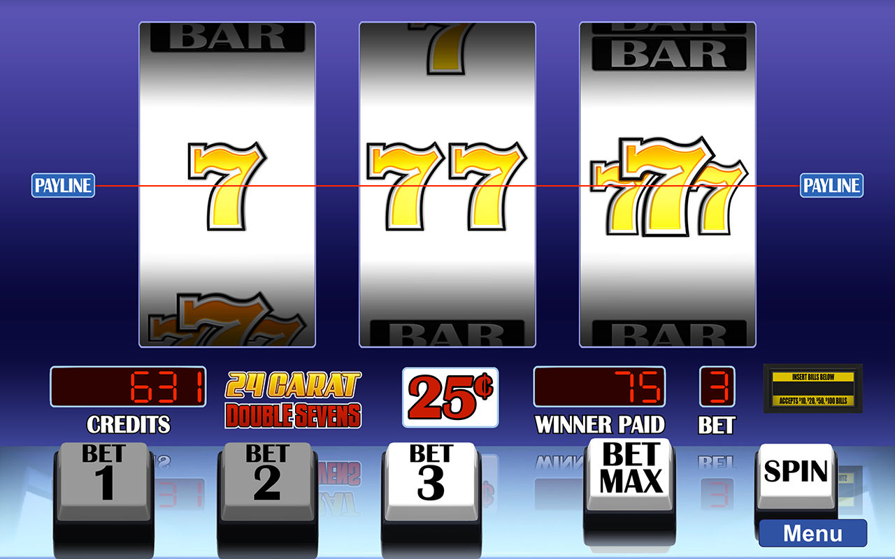 Arcadia Slots screenshot of 24 Carat Double Sevens slot game.