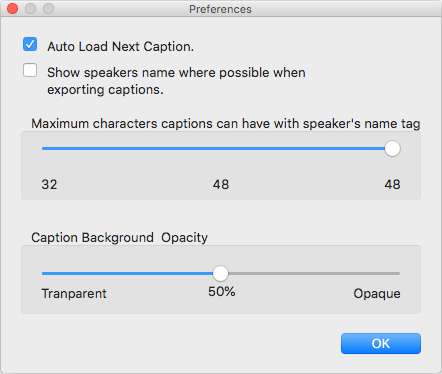 Preferences showing four settings: AutoLoad next Caption. Show Speakers name where possible when exporting captions. Maximum characters captions can have with speaker's name tag. Caption Background Opacity.