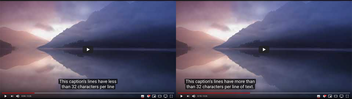 Two side by side images of video displaying similar captions on YouTube. The one on the left shows the closed captions centered in the video, while on the right captions are on the left side of the video.