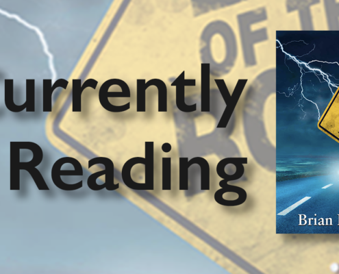 """The text, """"Currently Reading"""" plus the book cover for """"The Ghost Tree"""" featuring a large, gnarly tree in the foreground that is lit by title text, against a dark forest background."""