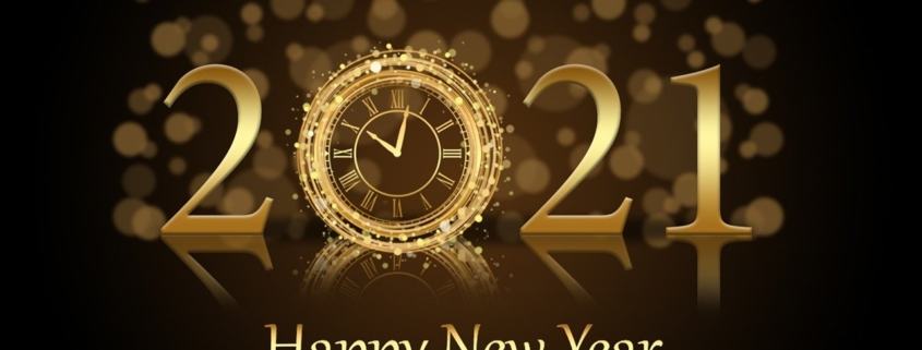 "A stylized, bright gold ""2021"" with a clock striking 10 p.m. as the ""0"", on deep brownbackground, with the words, ""Happy New Year"" in bright gold, all reflected horiztonally."
