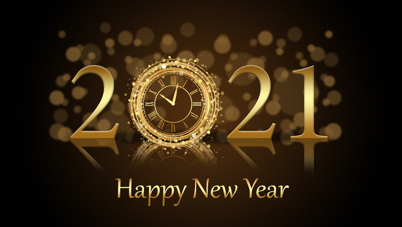 """A stylized, bright gold """"2021"""" with a clock striking 10 p.m. as the """"0"""", on deep brownbackground, with the words, """"Happy New Year"""" in bright gold, all reflected horiztonally."""